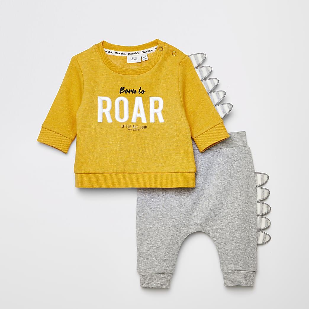 Gele dinosaurus sweater outfit met 'Roar'-tekst voor baby's