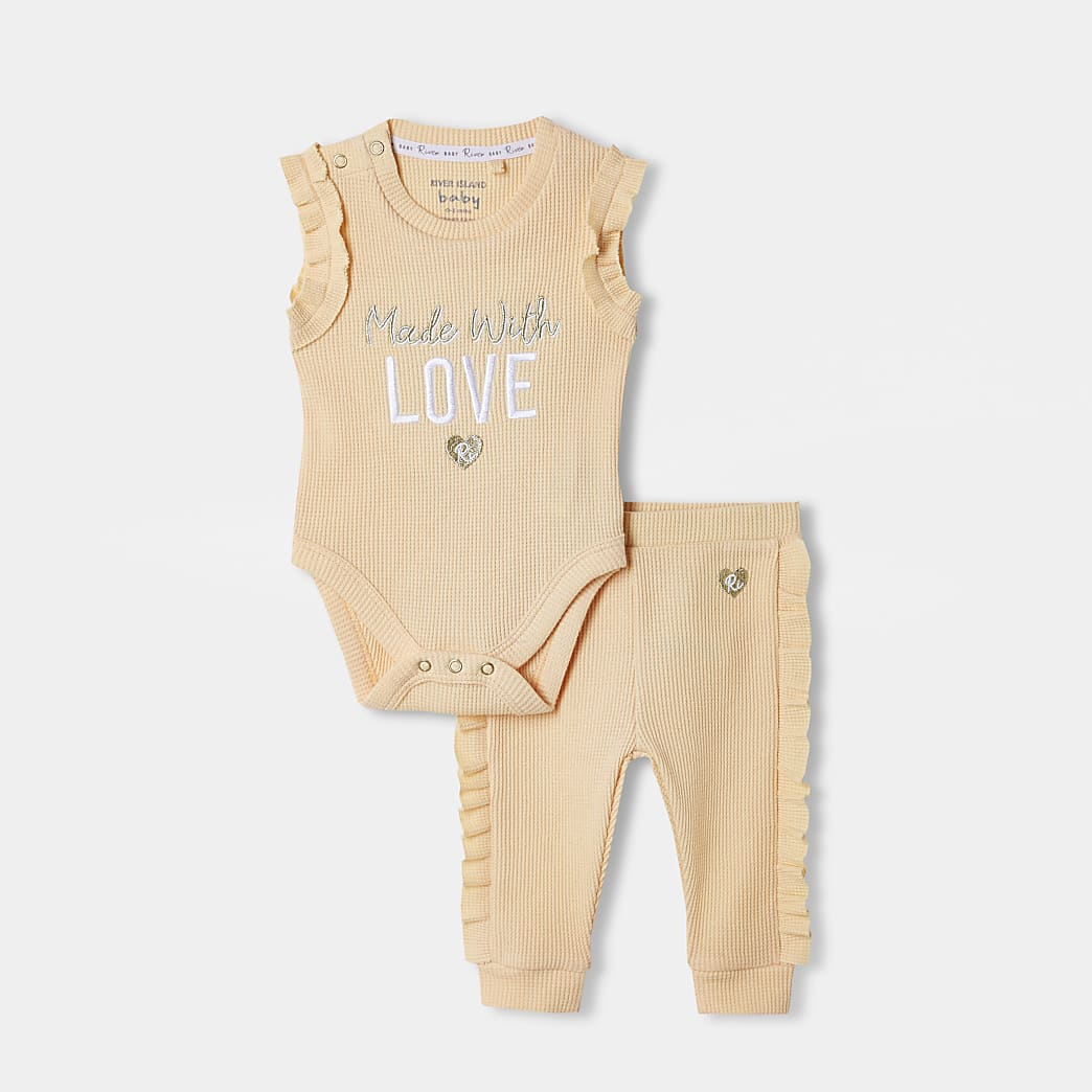 Baby yellow waffle 'Love' baby grow outfit