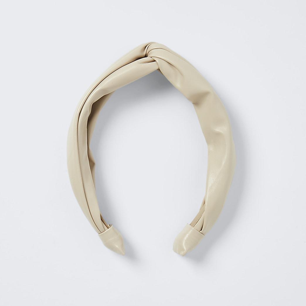 Beige - faux leather knot headband