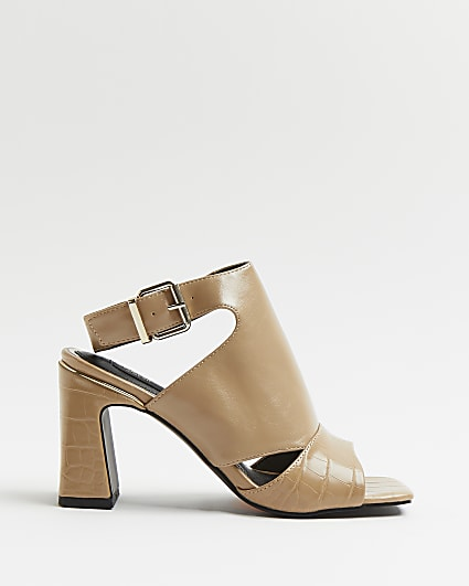 Beige  cut out square toe heeled shoe boots