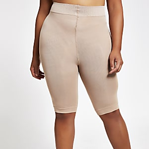 Shorts anti-frottements grande taille 90 deniers beiges