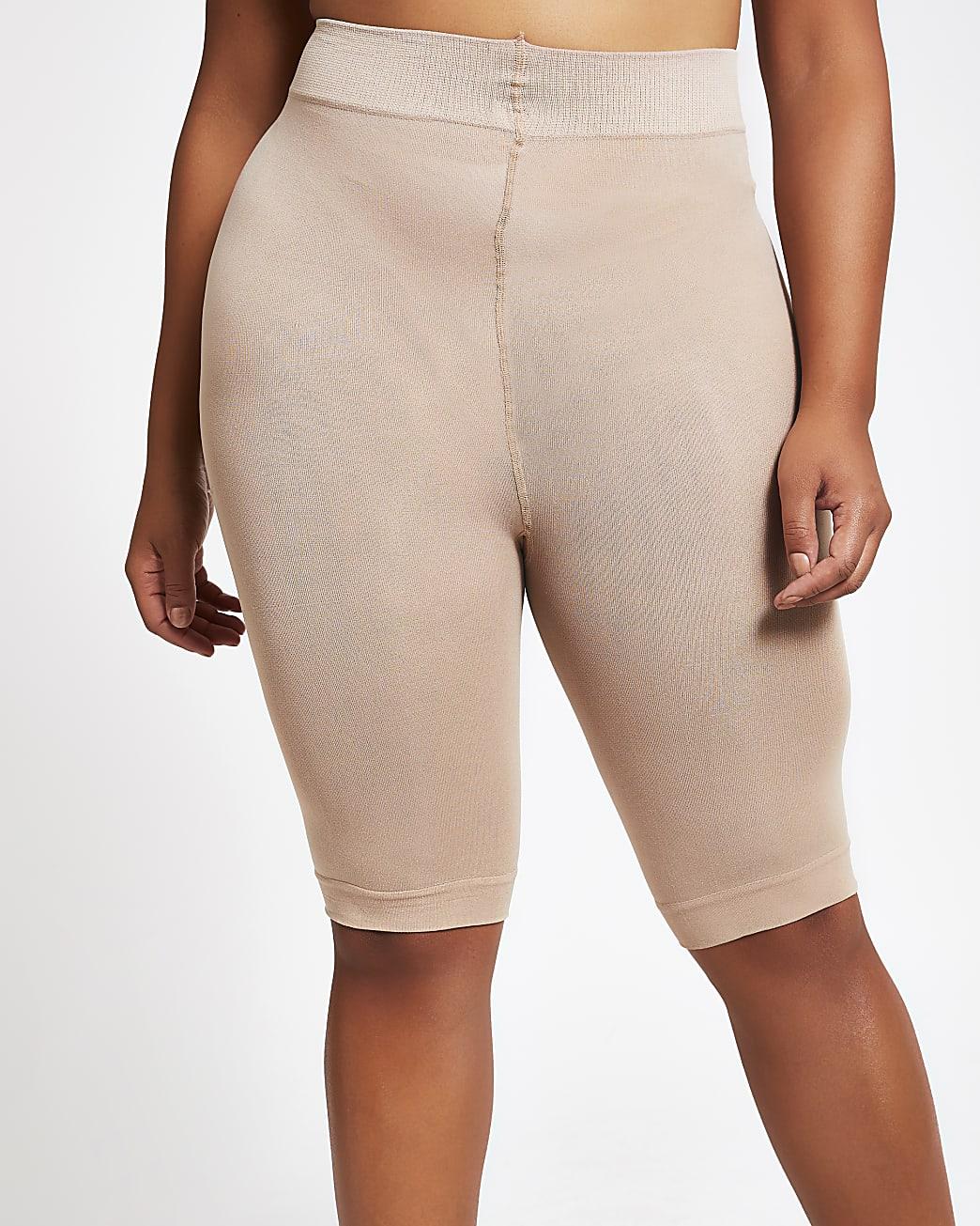 Beige 90 denier plus size anti chafing shorts