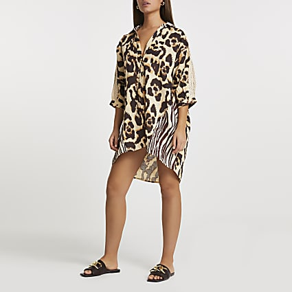 Beige animal mix print oversized beach shirt
