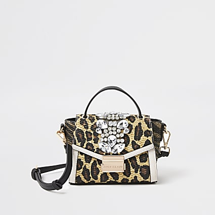 Beige animal print embellished cross body bag