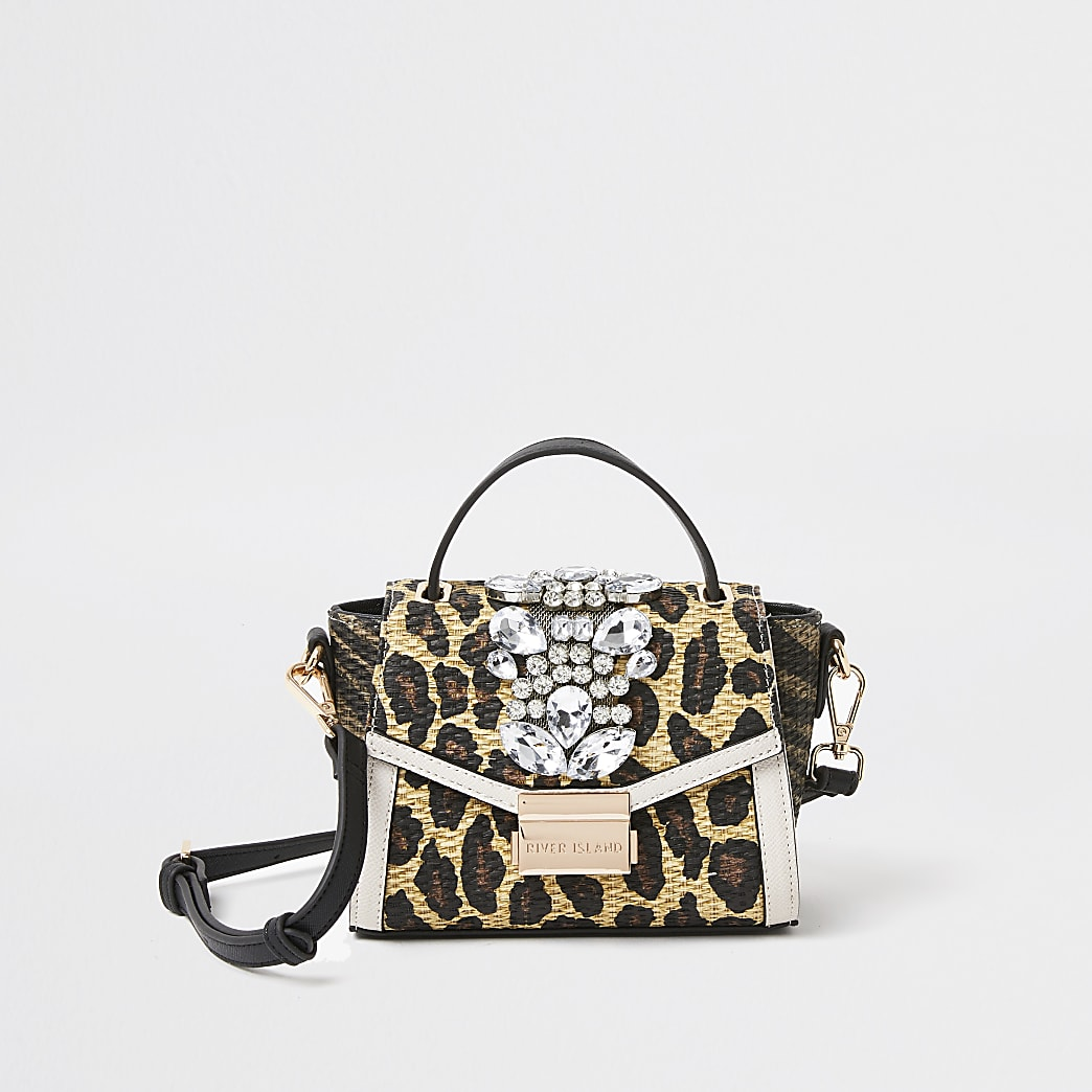 Beige animal print embellished x-body handbag