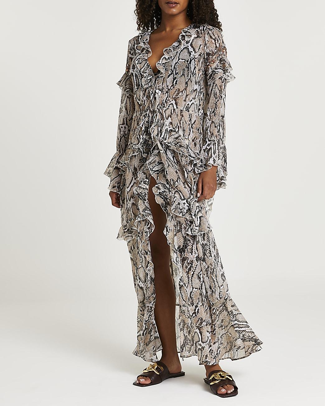Beige animal print kaftan dress