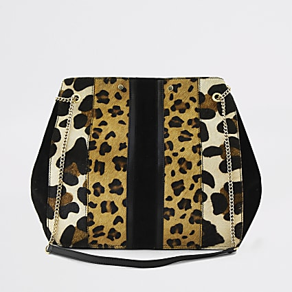 Beige animal print leather slouch bag