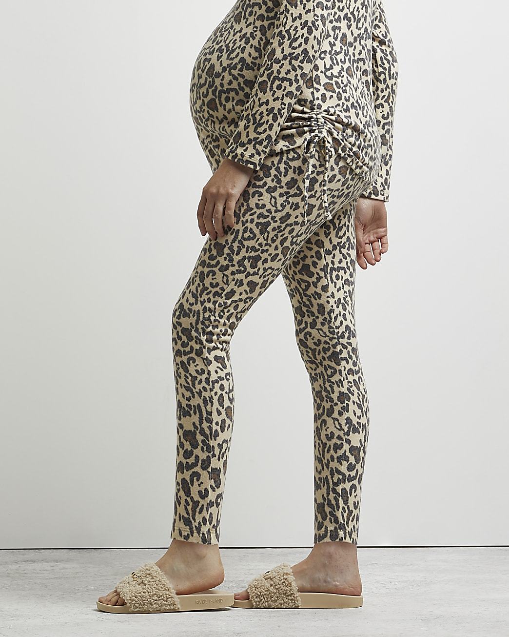 Beige animal print maternity leggings