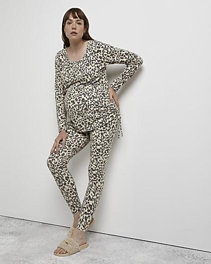 Beige animal print maternity top