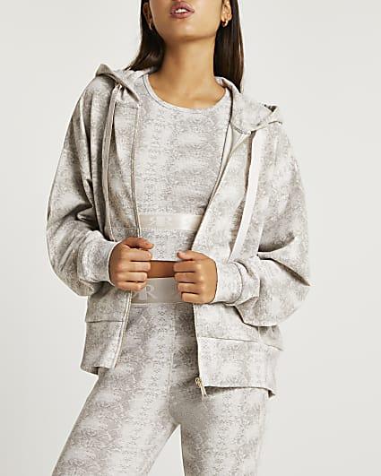 Beige animal print oversized hoodie