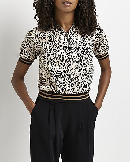 Beige animal print polo shirt