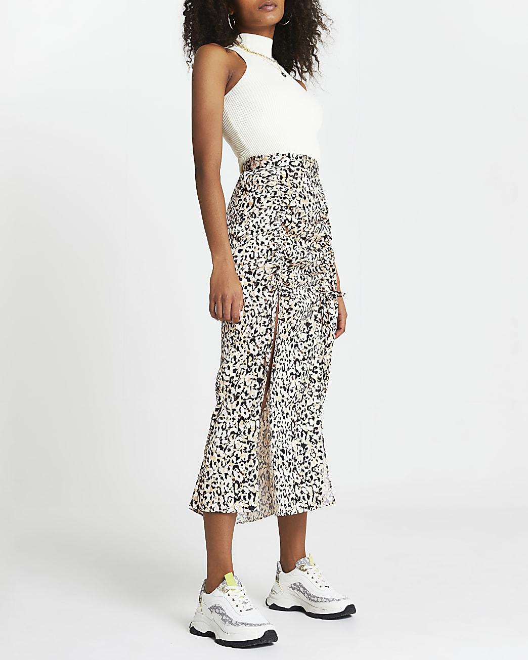 Beige animal print ruched skirt
