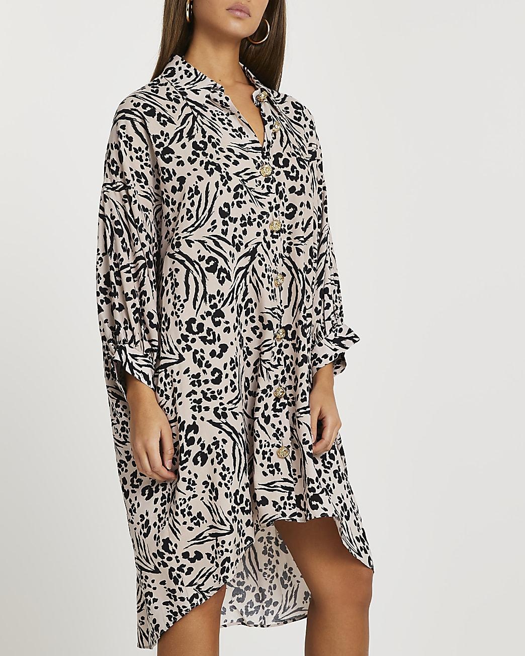 Beige animal print shirt dress