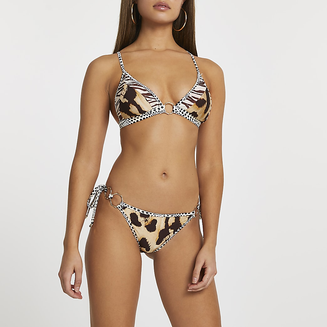 Beige animal print tie bikini bottoms