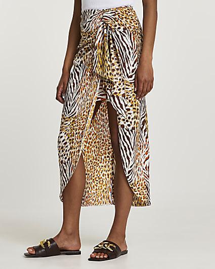Beige animal print tie midi skirt