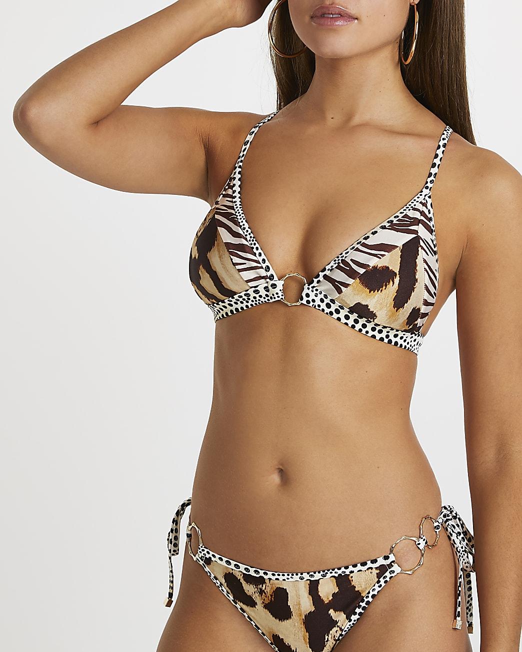 Beige animal print triangle bikini top