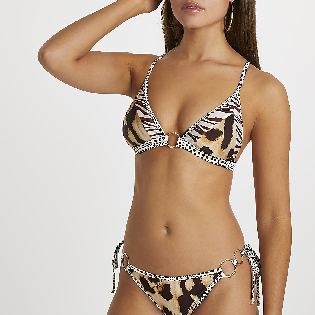 Beige animal print triangle bikini top