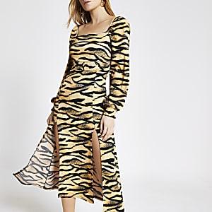 Beige animal printed shirred waist midi dress
