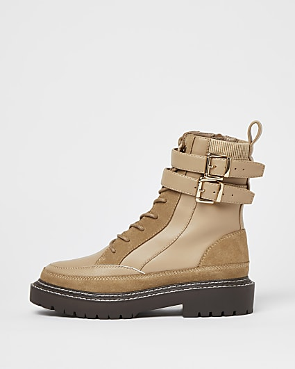 Beige ankle strap boots
