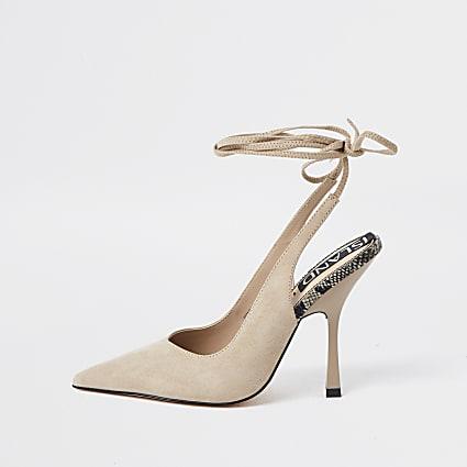 Beige ankle tie court heels