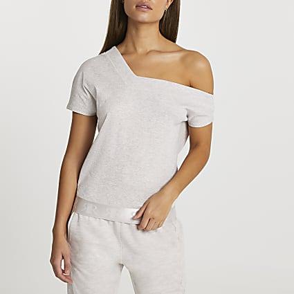 Beige asymmetric elastic hem bardot top