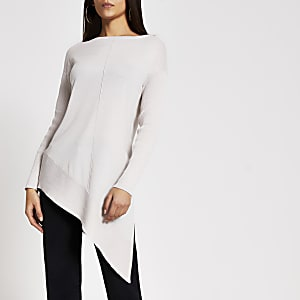 Beige asymmetric long sleeve knitted jumper