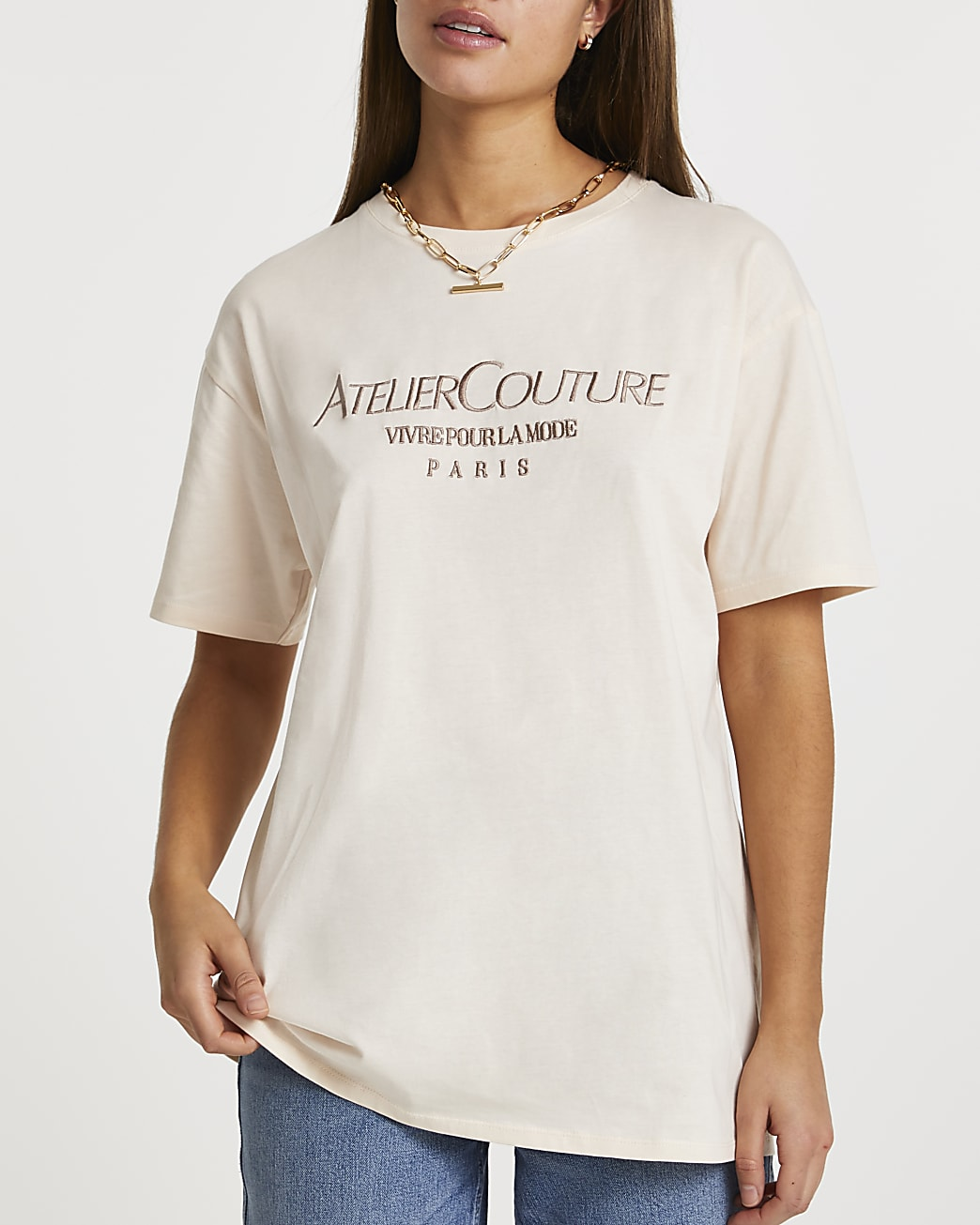 Beige 'Atelier Couture' oversized t-shirt