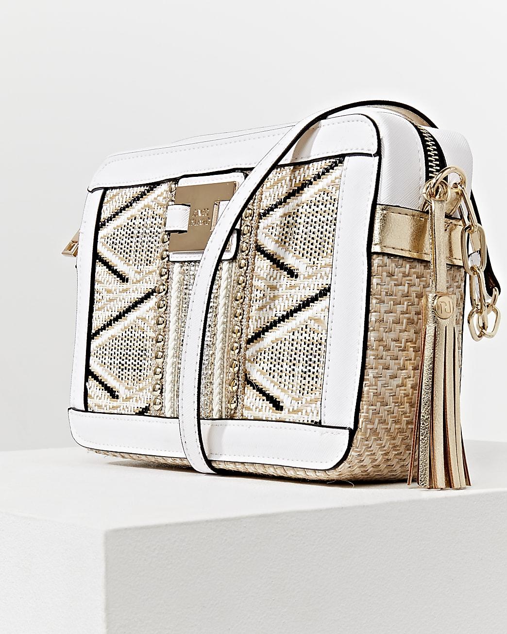 Beige aztec aeave boxy cross body handbag