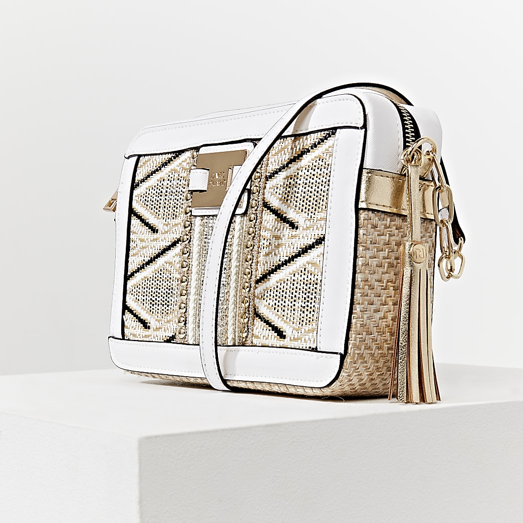 Beige aztec aeave boxy cross body handbag