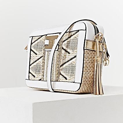 Beige Aztec Weave Boxy Xbody handbag