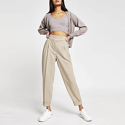 Beige balloon shaped peg trousers