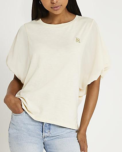 Beige balloon sleeve t-shirt