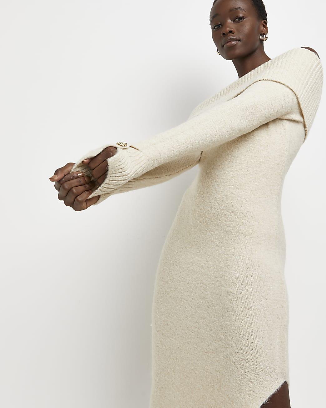 Beige bardot jumper dress