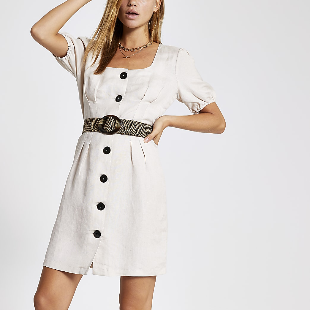 Beige belted button front linen dress
