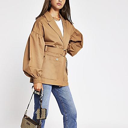 Beige Belted Trench Jacket