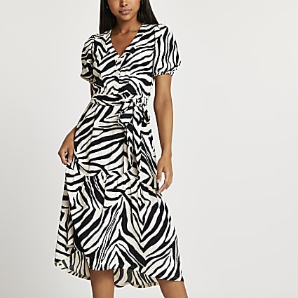 Beige belted zebra print midi dress