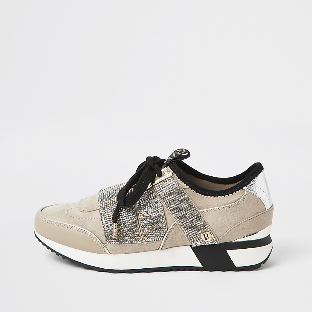 Beige bling runner lace up trainers