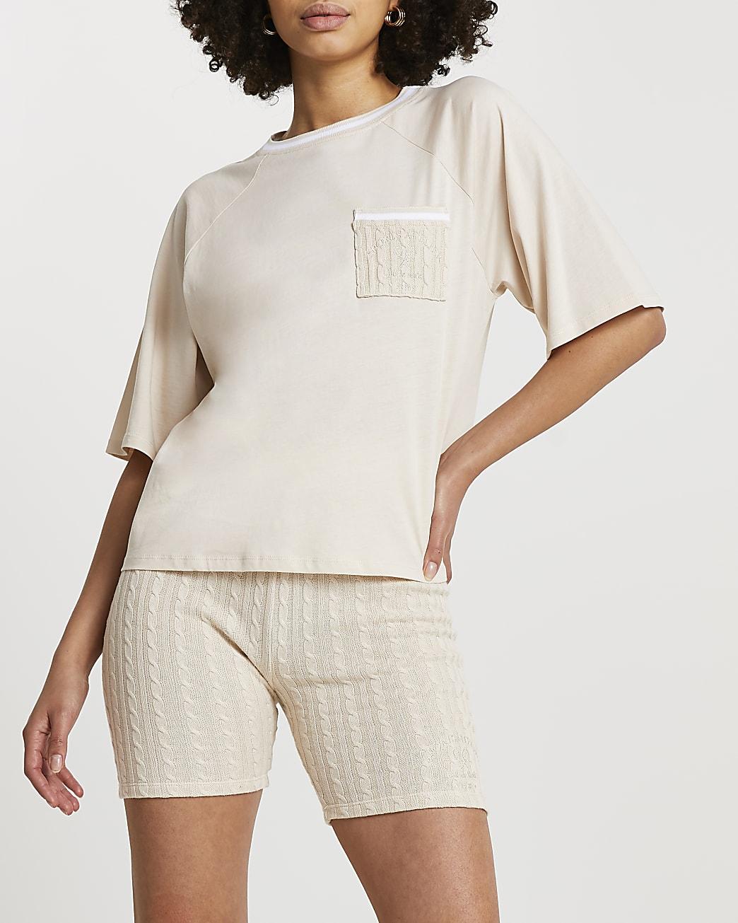 Beige boxy crop short sleeve tennis t-shirt