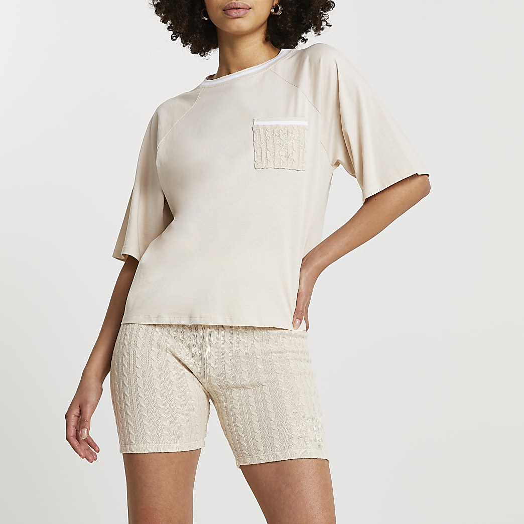 Beige boxy crop short sleeve tennis t-shirt