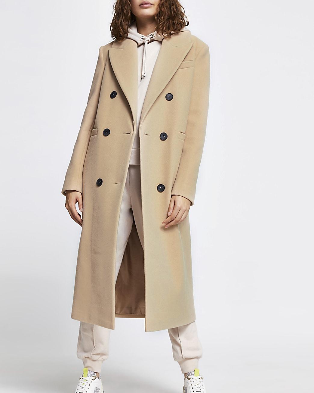 Beige boyfriend longline boxy coat