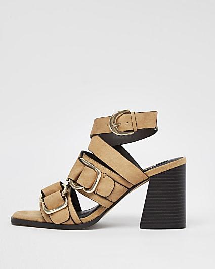 Beige buckle block heels