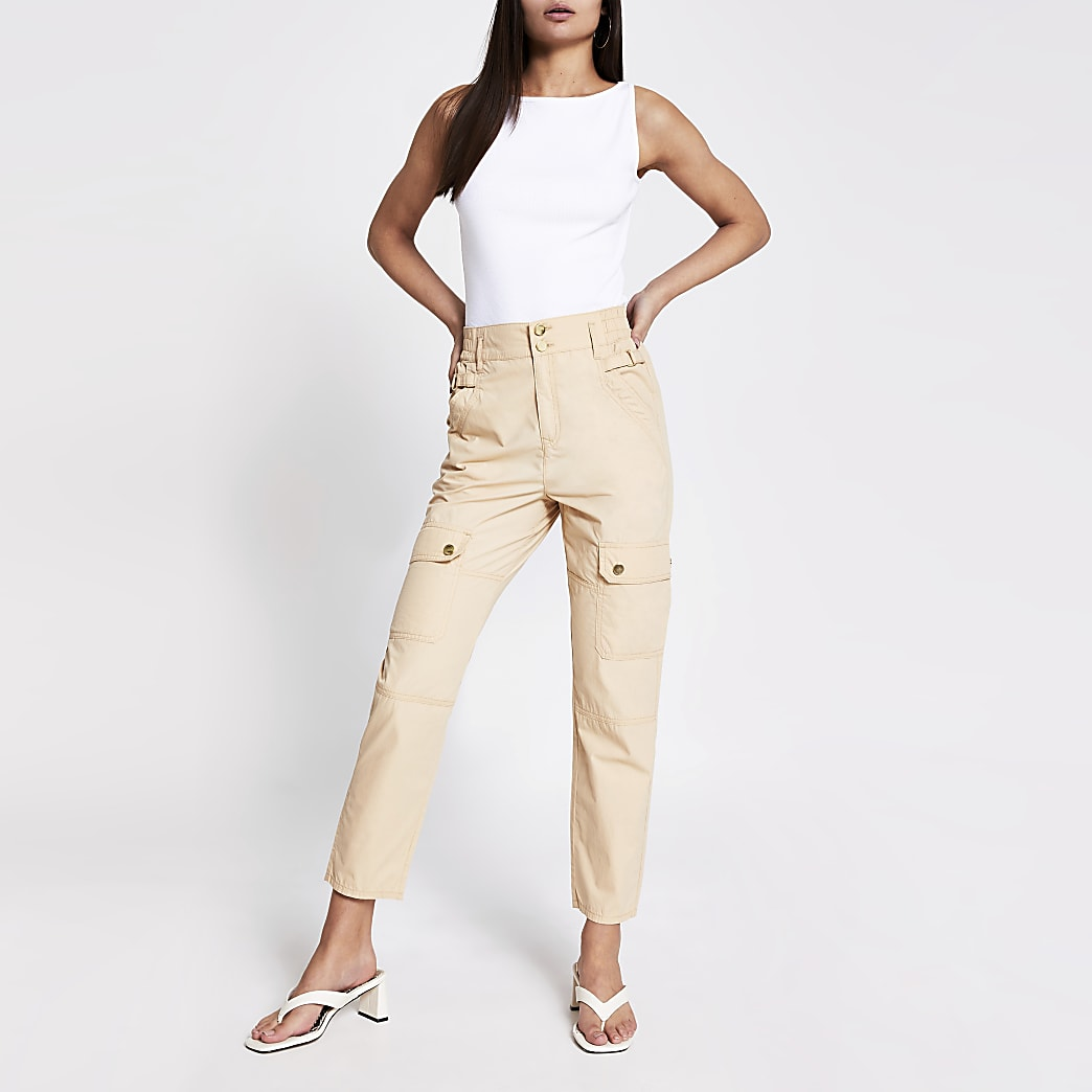 Beige buckle side cargo trousers