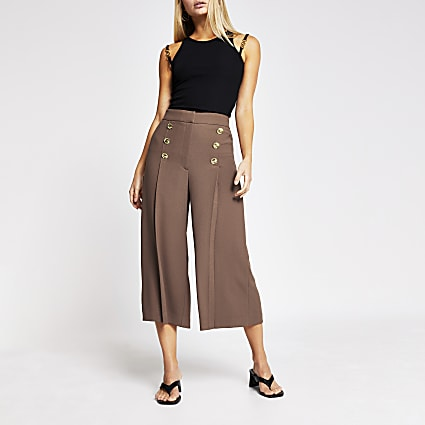Beige button front culotte trousers