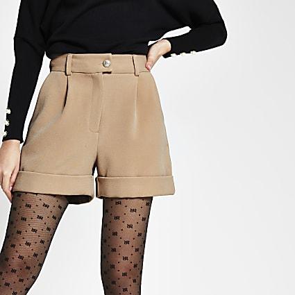 Beige button front shorts