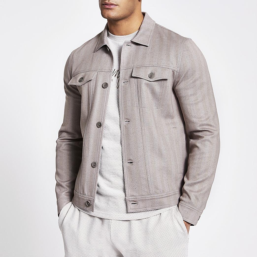 Beige button front skinny fit western jacket