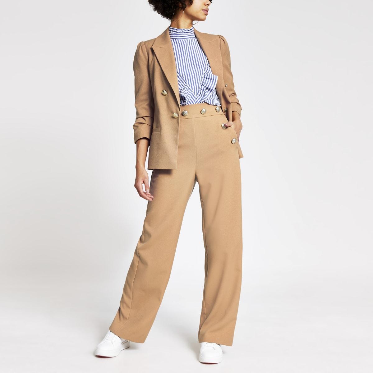 Beige high waist broek met wijde pijpen en knopen voor