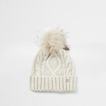 Beige cable knit beanie hat