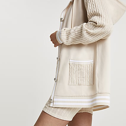 Beige cable knit button down hoodie