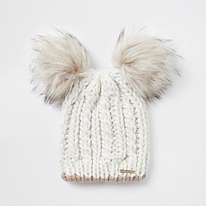 Beige cable knit double pom pom beanie hat