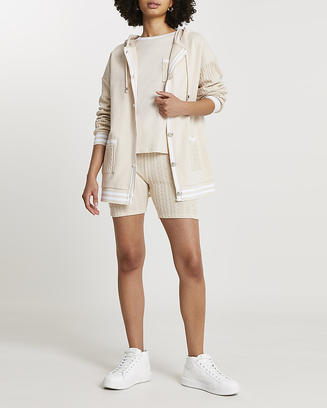 Beige cable knit jersey tennis shorts